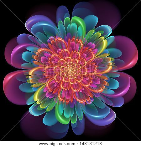 Retro Style Symmetrical Colorful Floral Design