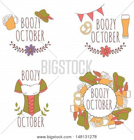 Set of hand drawn card with beer mug and pretzels with floral frame and flags, dirndl, traditional bavarian clothing isolated on white background. October. Boozy october.