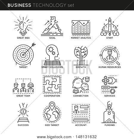 Business technology linear icons set with great idea market analysis and human resources connections isolated vector illustration