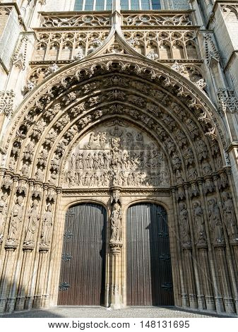 Ornate entrance to Antwerp cathedral near the Great Square or Grote Markt in Antwerp, Belgium