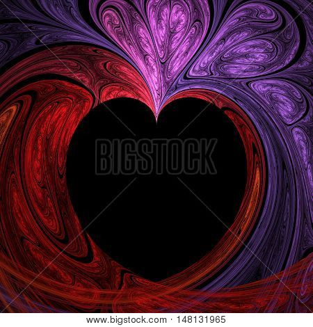 Abstract crazy fractal heart useful as wallpaper or print