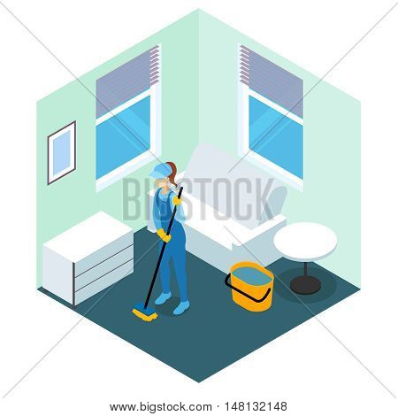 Floor cleaning isometric design in blue tones with woman in overalls with mop vector illustration
