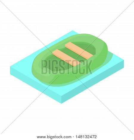 Dinghy inflatable boat icon in cartoon style isolated on white background vector illustration