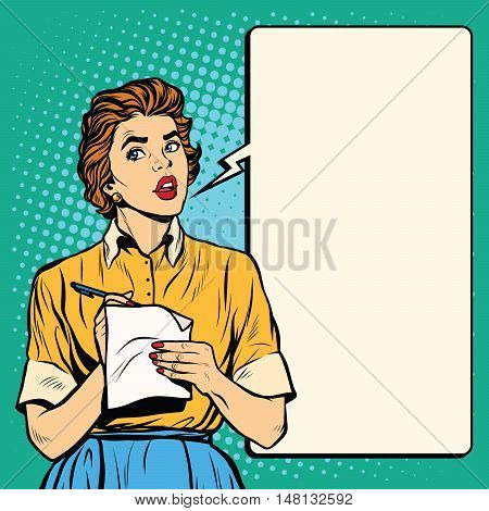 Retro waitress takes the order writes down meals, pop art retro vector illustration