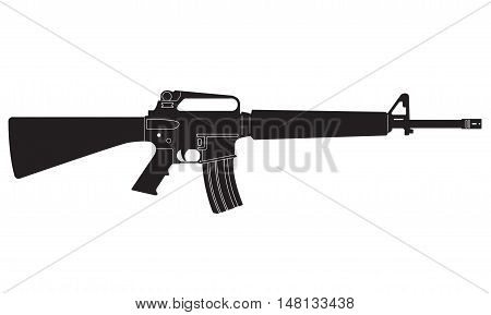 Submachine gun icon or sign isolated on white background. M16 black silhouette. Vector illustration.