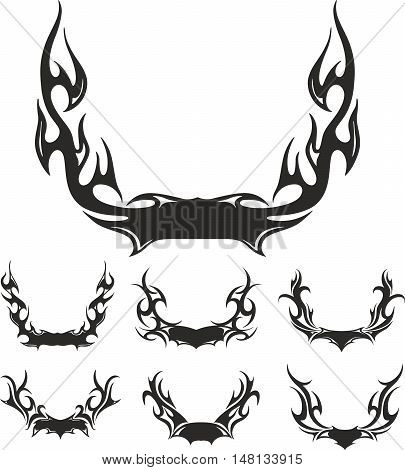 Set of flaming black and white wreaths. Vector illustrations.