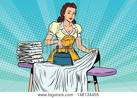 The hotel maid iron irons linen, pop art retro vector illustration. Hotel service and cleaning