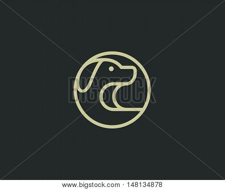 Linear puppy logo design template. Pet store logotype. Dog creative sign. Pet vector icon