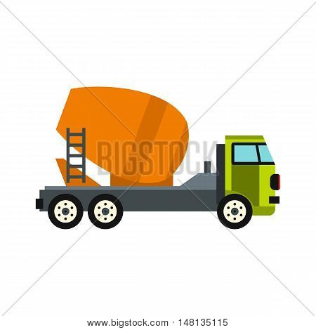 Truck mixer icon in flat style isolated on white background. Transportation symbol vector illustration
