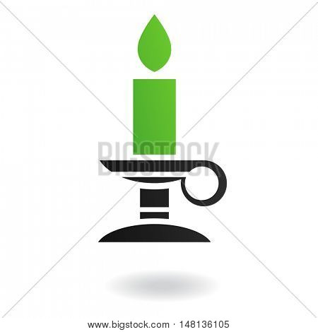 Green candle in candleholder isolated on white