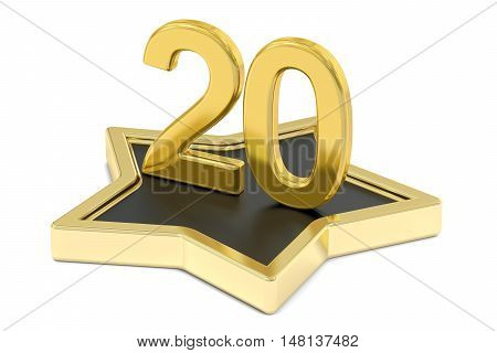 golden number 20 on star podium award concept. 3D rendering isolated on white background