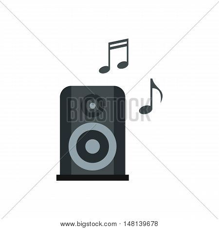 Portable music speacker icon in flat style isolated on white background. Device symbol vector illustration