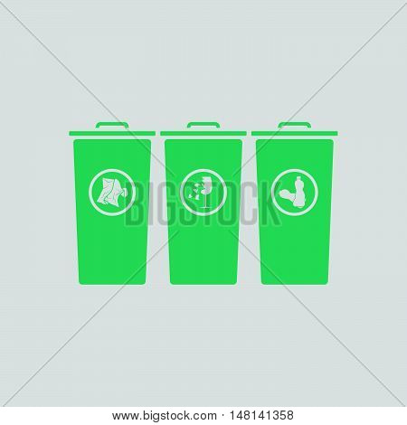 Garbage containers with separated trash icon. Gray background with green. Vector illustration. poster