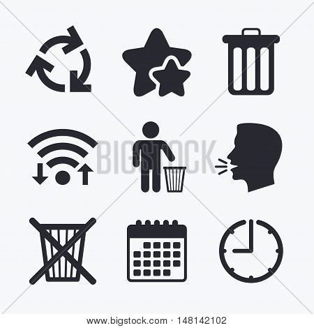 Recycle bin icons. Reuse or reduce symbols. Human throw in trash can. Recycling signs. Wifi internet, favorite stars, calendar and clock. Talking head. Vector poster
