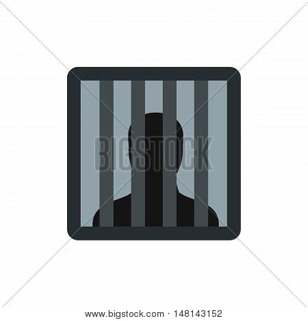 Male behind bars in prison icon in flat style isolated on white background. Punishment symbol vector illustration