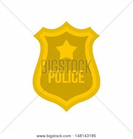 Police badge icon in flat style isolated on white background. Emblem symbol vector illustration