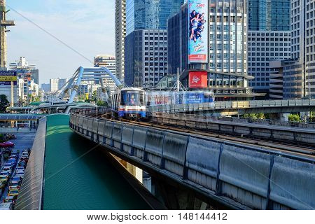 Bangkok-Thailand Apr 4 2016: BTS Sky train mass transit system in Bangkok to help facilitate and speed the journey.