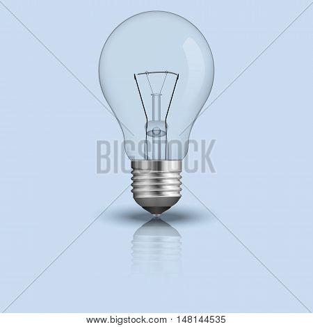 Realistic light bulb. Vector illustration. Isolated on blue background.