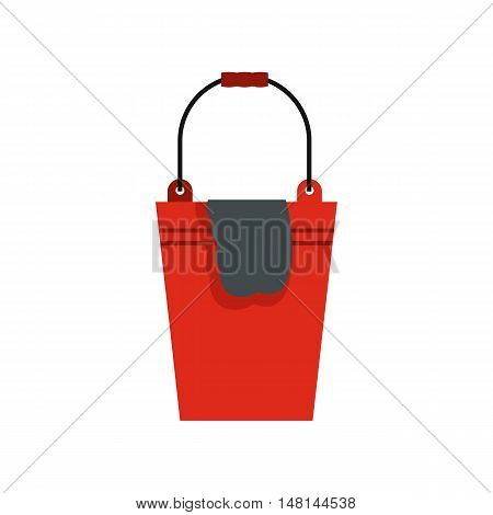 Bucket with a rag icon in flat style isolated on white background. Cleaning symbol vector illustration