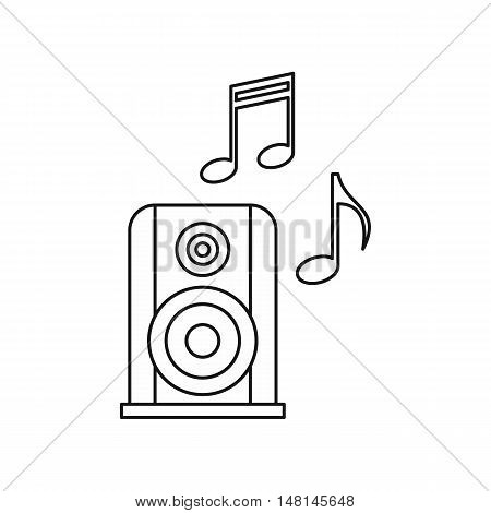 Portable music speacker icon in outline style isolated on white background. Device symbol vector illustration