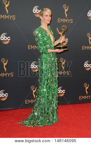 LOS ANGELES - SEP 18:  Sarah Paulson at the 2016 Primetime Emmy Awards - Press Room at the Microsoft Theater on September 18, 2016 in Los Angeles, CA