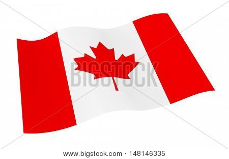 Canada flag isolated on white background from world flags set. 3D illustration.