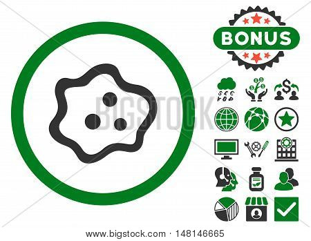 Amoeba icon with bonus symbols. Vector illustration style is flat iconic bicolor symbols green and gray colors white background.