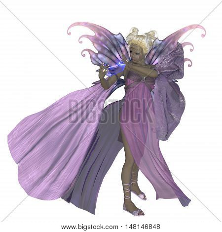 Fairy Addiena on White 3D Illustration - A fairy is a creature of folklore and legend and has pointed long ears is small in stature and has wings.