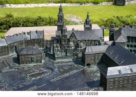 POLAND, KRAKOW - MAY 27, 2016: Model Wawel hill with Royal Archcathedral Basilica of Saints Stanislaus and Wenceslaus, old castle and other buildings. Near famous Wawel Castle in Krakow.