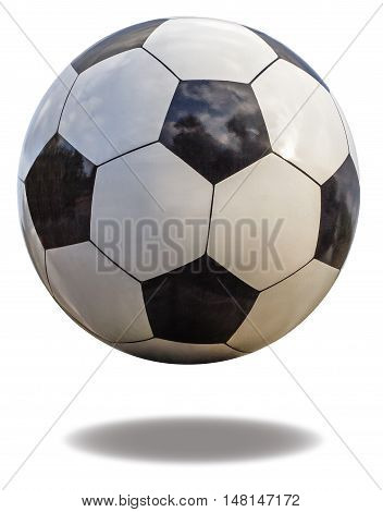 Soccer ball closeup isolated on white background