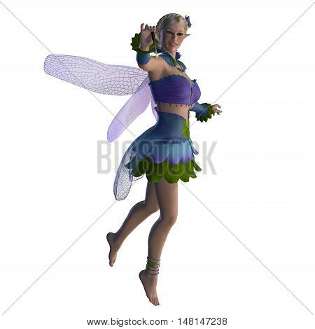 Fairy Sarah on White 3D Illustration - A fairy is a creature of folklore and legend and has pointed long ears is small in stature and has wings.
