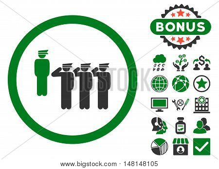 Army Squad icon with bonus symbols. Vector illustration style is flat iconic bicolor symbols green and gray colors white background.