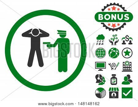Arrest icon with bonus design elements. Vector illustration style is flat iconic bicolor symbols green and gray colors white background.