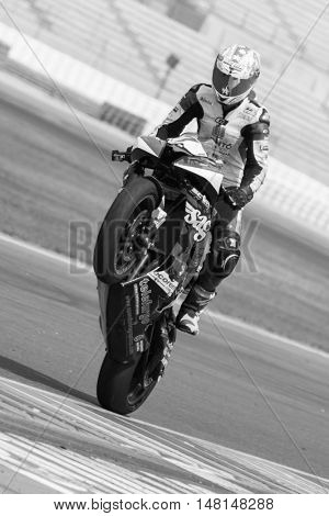 CHESTE, SPAIN - SEPTEMBER 17th: Adrian Menchen in SuperStock600 during Spanish Speed Championship at Cheste Circuit on September 17, 2016 in Cheste, Spain