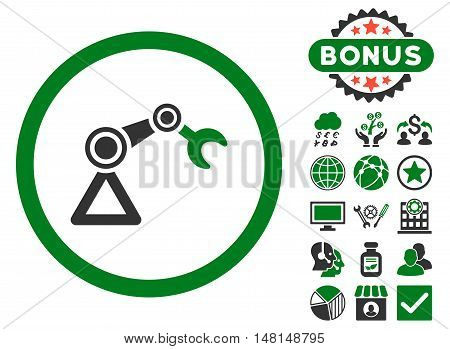 Artificial Manipulator icon with bonus design elements. Vector illustration style is flat iconic bicolor symbols green and gray colors white background.