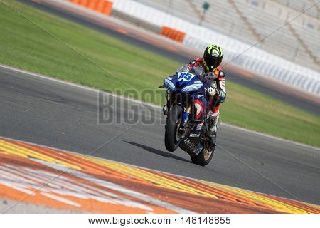 CHESTE, SPAIN - SEPTEMBER 17th: Pedro Nuno Romero in SuperStock600 during Spanish Speed Championship at Cheste Circuit on September 17, 2016 in Cheste, Spain