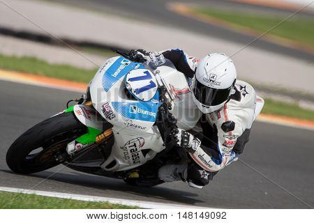 CHESTE, SPAIN - SEPTEMBER 17th: Miquel Pons in SuperStock600 during Spanish Speed Championship CEV at Cheste Circuit on September 17, 2016 in Cheste, Spain