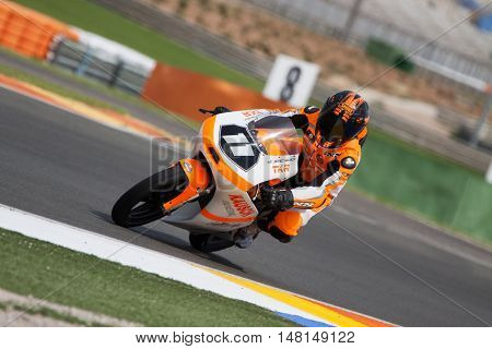 CHESTE, SPAIN - SEPTEMBER 17th: Jarno Kausch in Moto3 during Spanish Speed Championship CEV at Cheste Circuit on September 17, 2016 in Cheste, Spain