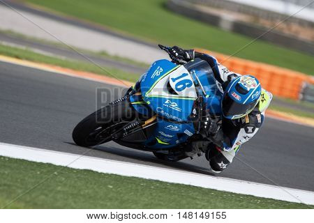 CHESTE, SPAIN - SEPTEMBER 17th: Oier Cascante in superStock600 during Spanish Speed Championship CEV at Cheste Circuit on September 17, 2016 in Cheste, Spain