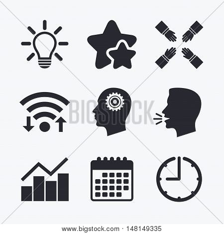 Lamp idea and head with gear icons. Graph chart diagram sign. Teamwork symbol. Wifi internet, favorite stars, calendar and clock. Talking head. Vector