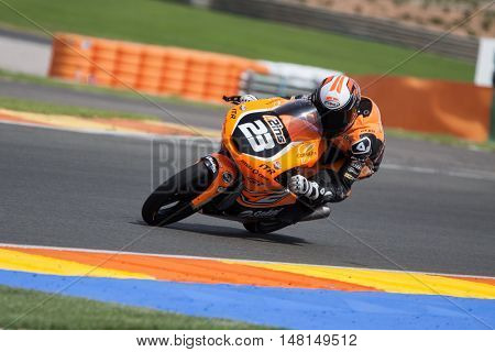CHESTE, SPAIN - SEPTEMBER 17th: Andrea Cavaliere in Moto3 during Spanish Speed Championship CEV at Cheste Circuit on September 17, 2016 in Cheste, Spain