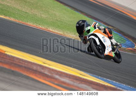 CHESTE, SPAIN - SEPTEMBER 17th: Daniel Holgado in Moto4 during Spanish Speed Championship CEV at Cheste Circuit on September 17, 2016 in Cheste, Spain