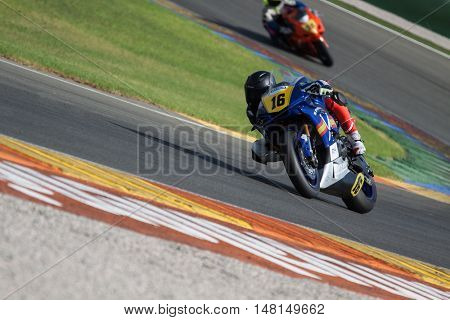 CHESTE, SPAIN - SEPTEMBER 17th: Oscar Climent in SuperStock1000 during Spanish Speed Championship CEV at Cheste Circuit on September 17, 2016 in Cheste, Spain