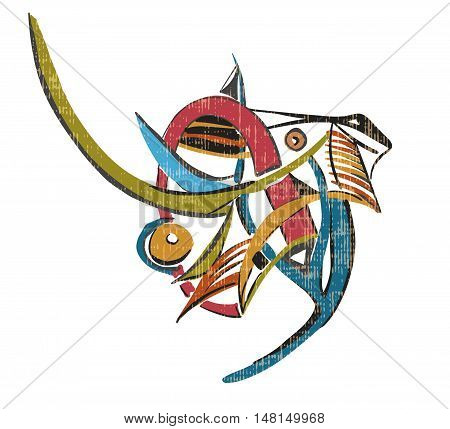 Colorful elephant on a white background. Vintage style of Abstract art Suprematism Constructivism suitable for prints posters and covers.