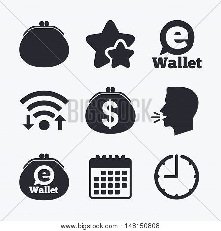 Electronic wallet icons. Dollar cash bag sign. eWallet symbol. Wifi internet, favorite stars, calendar and clock. Talking head. Vector