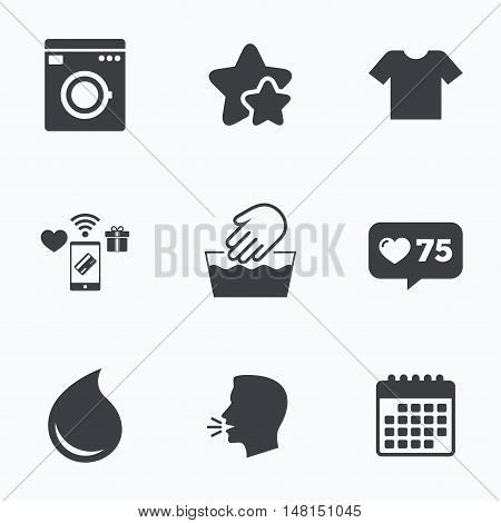 Wash machine icon. Hand wash. T-shirt clothes symbol. Laundry washhouse and water drop signs. Not machine washable. Flat talking head, calendar icons. Stars, like counter icons. Vector