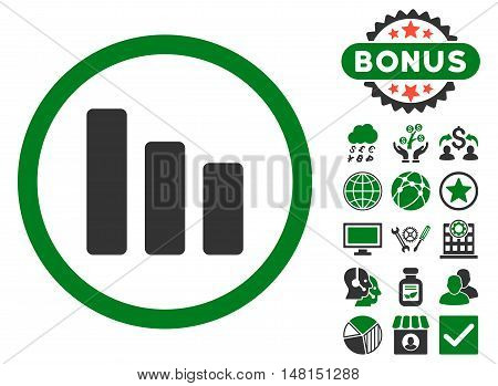 Bar Chart Decrease icon with bonus elements. Vector illustration style is flat iconic bicolor symbols green and gray colors white background.
