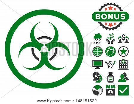 Bio Hazard icon with bonus images. Vector illustration style is flat iconic bicolor symbols green and gray colors white background.