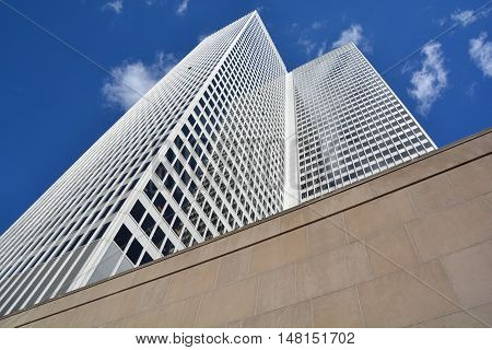 MONTREAL QUEBEC CANADA 09 15 2016: Place ville Marie building .1 Place Ville Marie a 47-storey, cruciform office tower built in the International style in 1962.