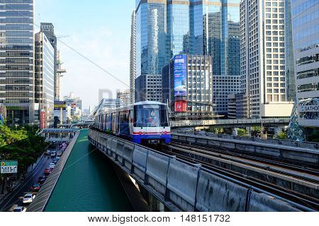 Bangkok-Thailand APR 4 2016: BTS Sky train mass transit system in Bangkok to help facilitate and speed the journey